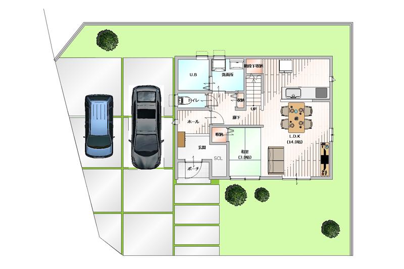 建物プラン例|全体図