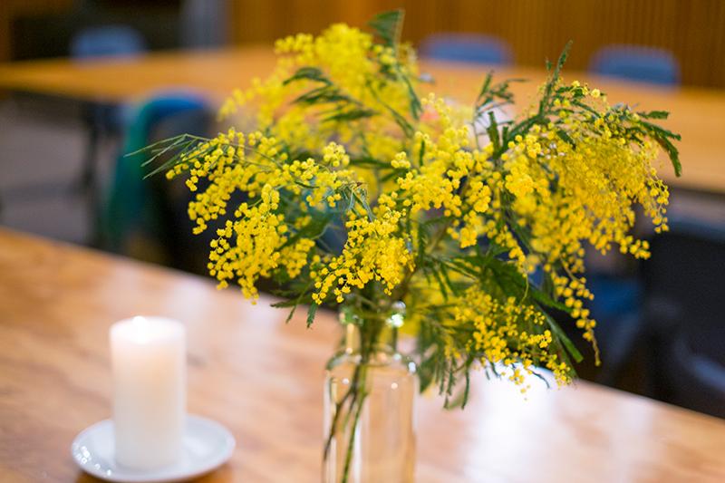 ミモザや桜などの春の花を大胆に飾る